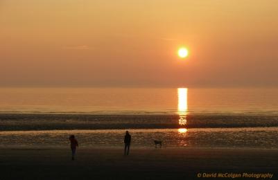 Sunset Dog Walking at Prestwick Beach