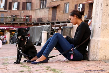 Girl and Dog in Siena