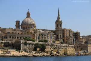 Carmelite Dome & St Paul's Anglican Cathedral from Marsamxett Harbour